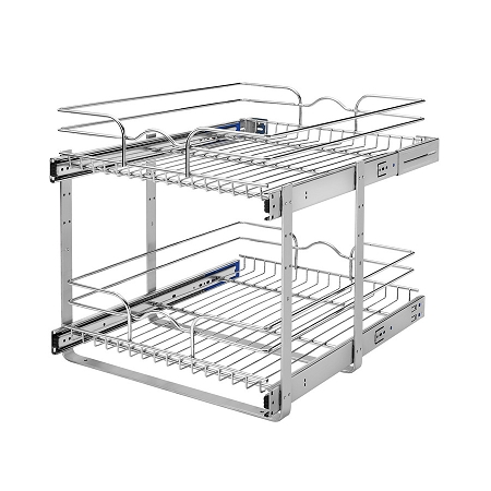 Pull Out Wire Basket Shelves 18x22 Double