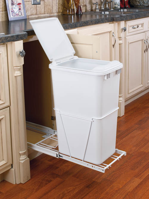 50 Qt Single Pull Out Trash Container White