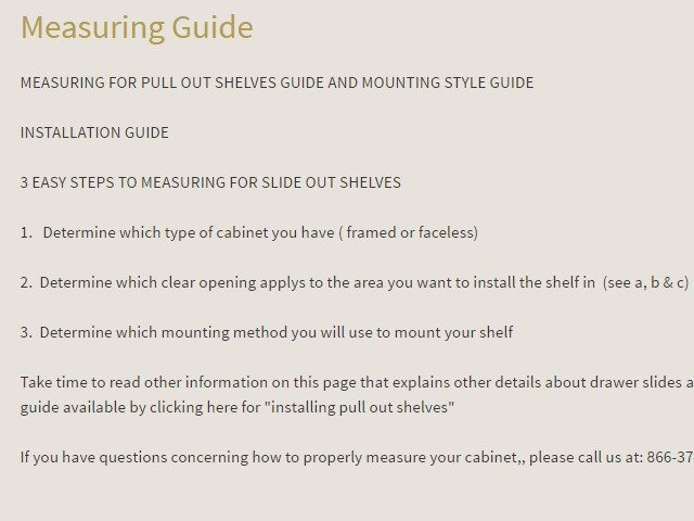 Step 2 - Read The Pull Out Cupboard Measuring Guide