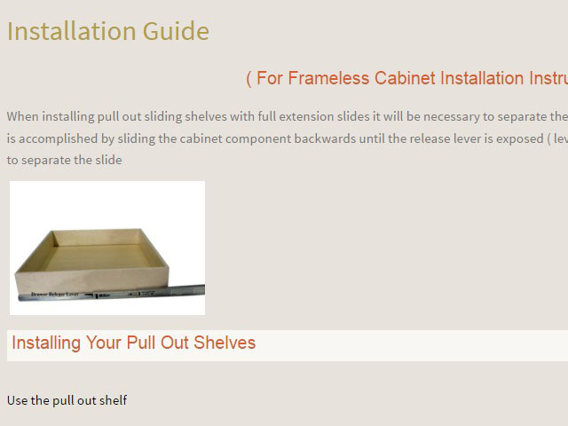 Step 5 - Learn How To Install Your Pull Out Cupboard Shelves