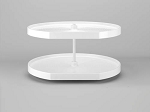 2 Shelf Polymer D Shaped Lazy Susan