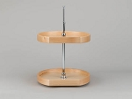 2 Shelf Wood D Shaped Lazy Susan