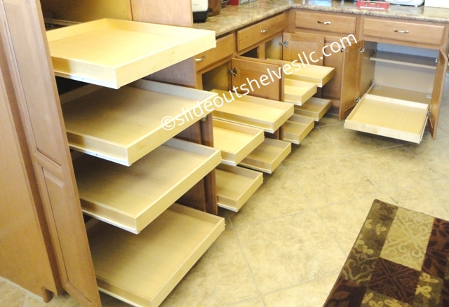 kitchen cabinets sliding shelves adding pull out shelves to kitchen and bathroom cabinets 21192