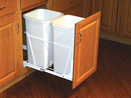 White Double 27qt Pull Out Trash Containers