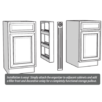 Base cabinet pull out spice rack 3 6 or 9 wide - Base cabinet pull out spice rack ...