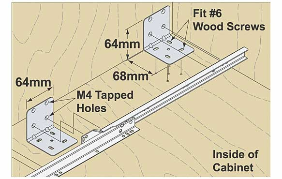 Pull Out Shelf Hardware L Shaped Mounting Brackets