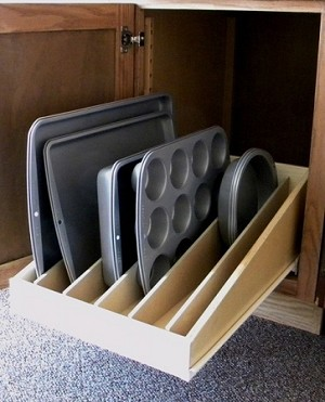 Pan Lid Pull Out Shelf Organizer